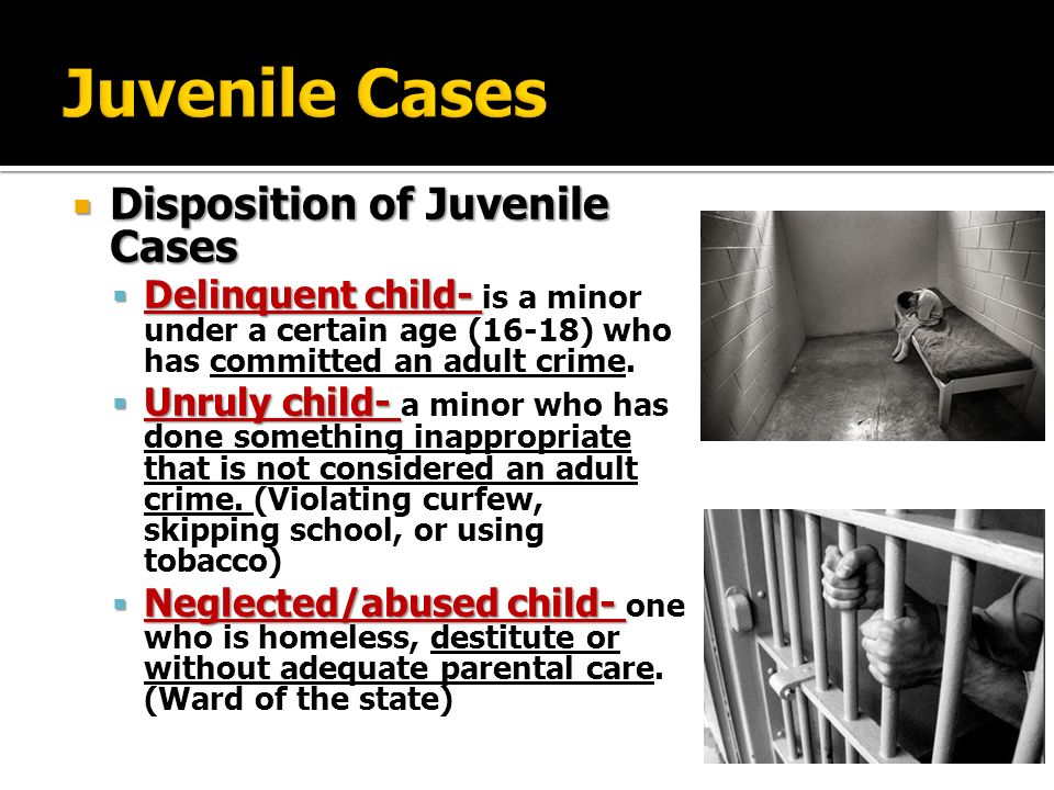 not yet an adult in the juvenile Juvenile crimes can include any adult offenses and status offenses, which include curfew violation, running away from home, and truancy  the office of juvenile justice and delinquency prevention  drug abuse arrest rates rose steadily through the '90s and have not yet dropped significantly.