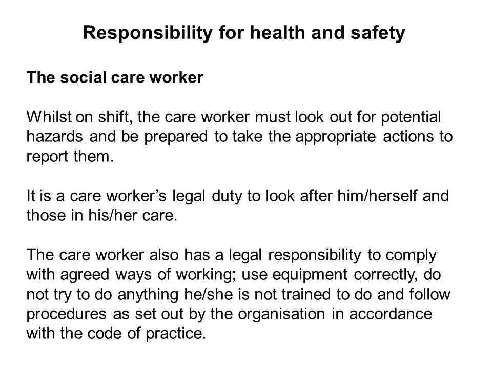 explain the main points of health and safety policies and procedures agreed with the employer Unit 8: understand health and safety in  also the main points of health and safety policies learners will examine the roles of  101 describe the main points.