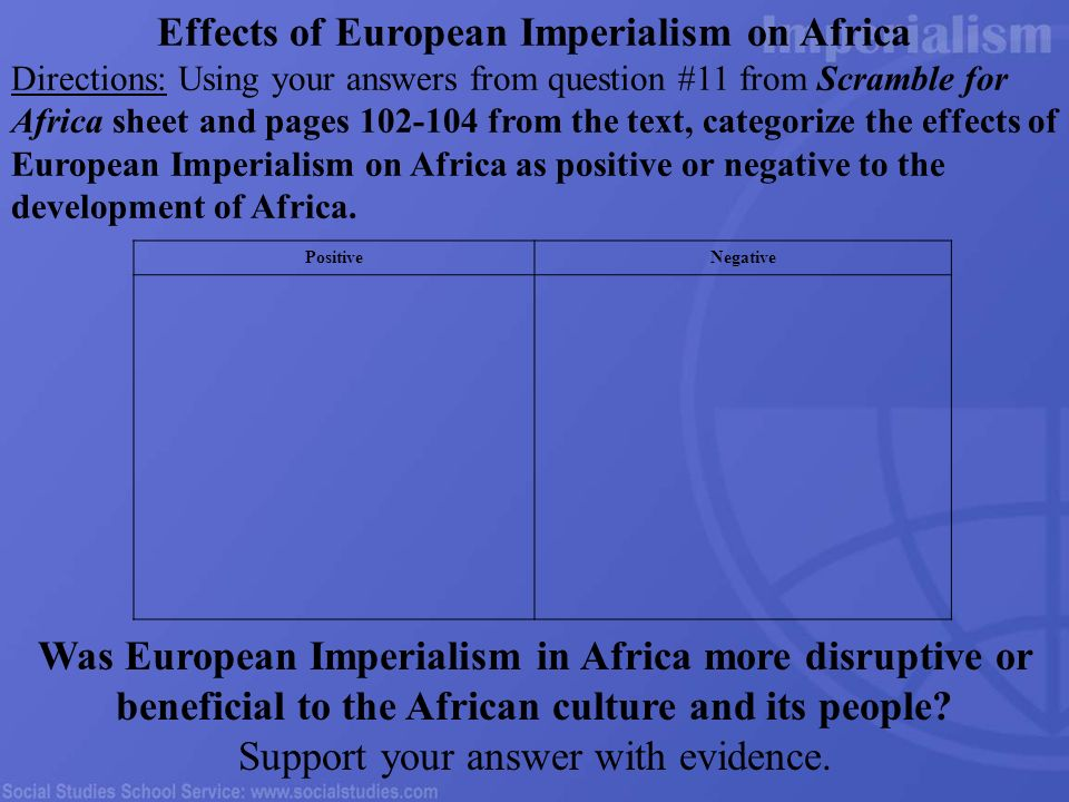 the effects of imperialism Imperialism is a depraved choice of national life, imposed by self-seeking interests which appeal to the lusts of quantitative acquisitiveness and of forceful.