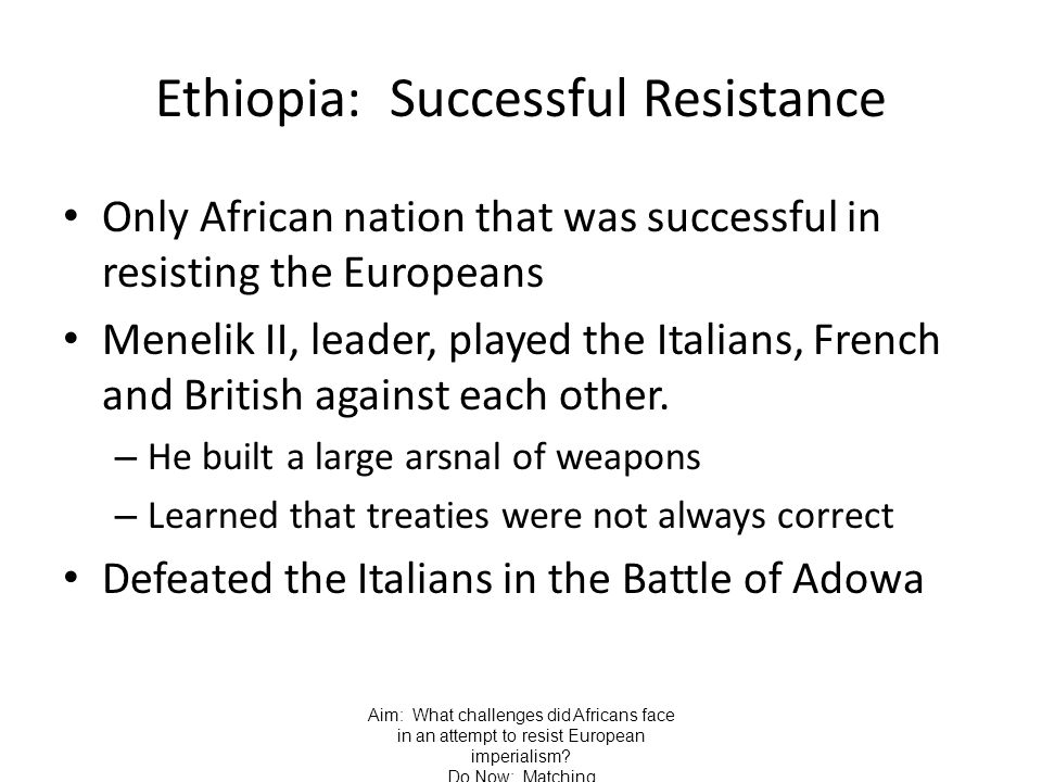 Ethiopia: Successful Resistance