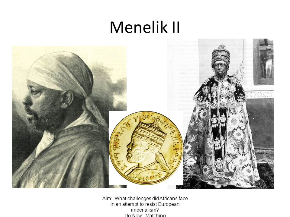 Menelik II Aim: What challenges did Africans face in an attempt to resist European imperialism.