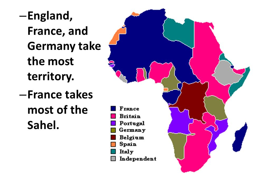 England, France, and Germany take the most territory.