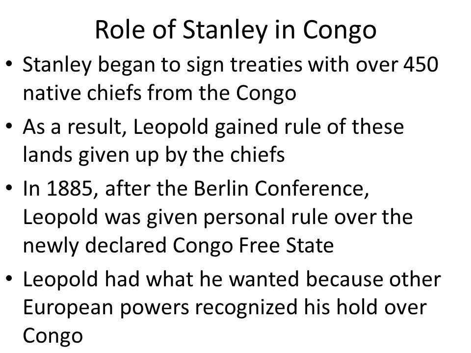 Role of Stanley in Congo