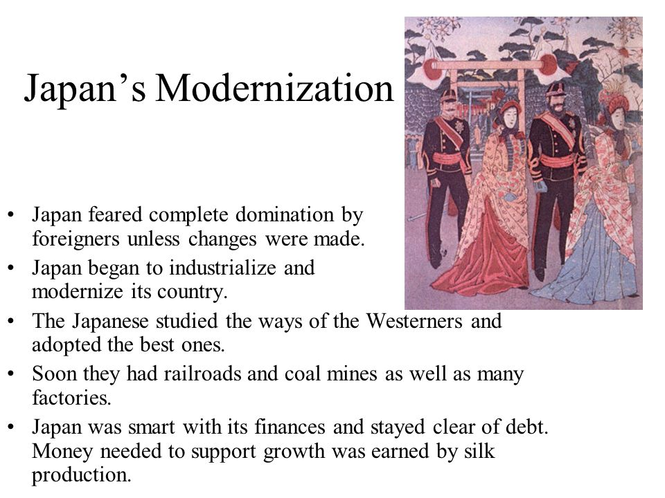 japans western modernization Voices from the past: the human cost of japan's modernization, 1880s-1930s: the nature of sovereignty in japan, 1870s-1920s:  the western nations,.