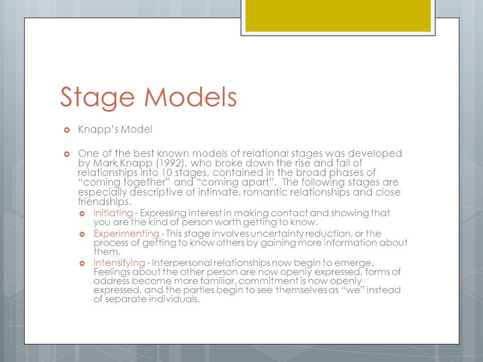 relationship paper of mark knapp s model For those of you who are not familiar with this model, it is mark knapp's relational development and maintenance model this model describes the stages a relationship undergo from initiating to terminating.