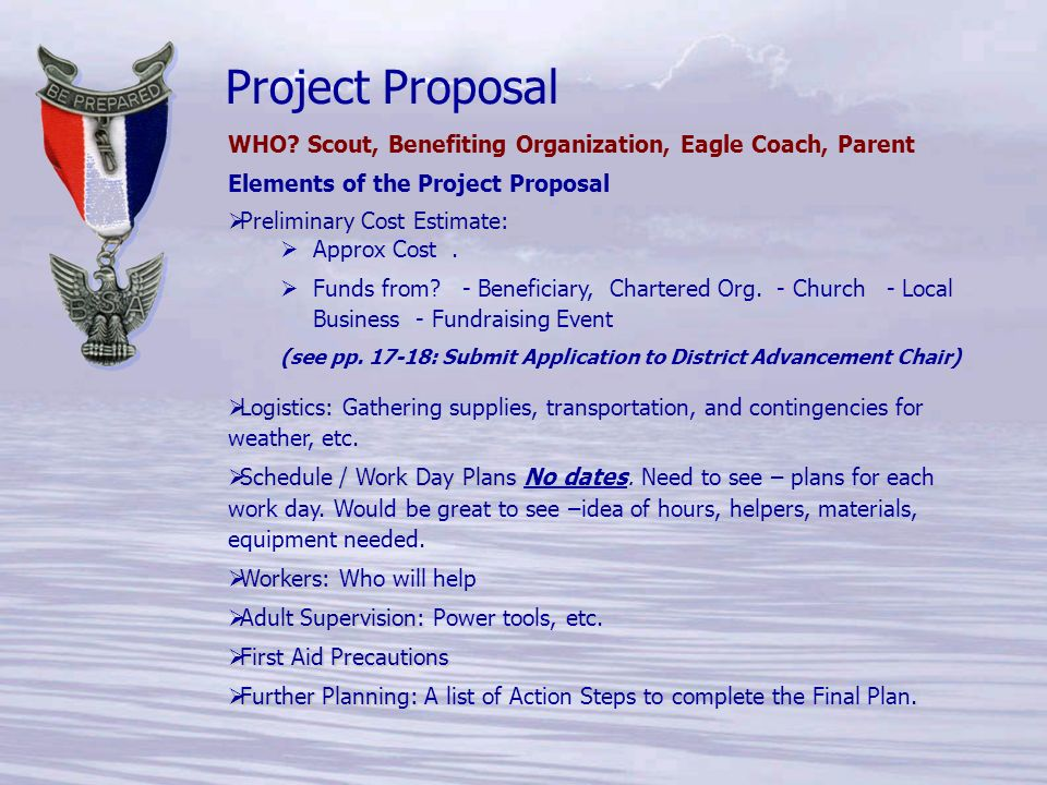 baker project proposal Proposals vary in form from a one-page description to an extensive prospectus including sample chapters we prefer to see a proposal before you complete the manuscript this enables you to obtain feedback from us that may make the project more publishable.