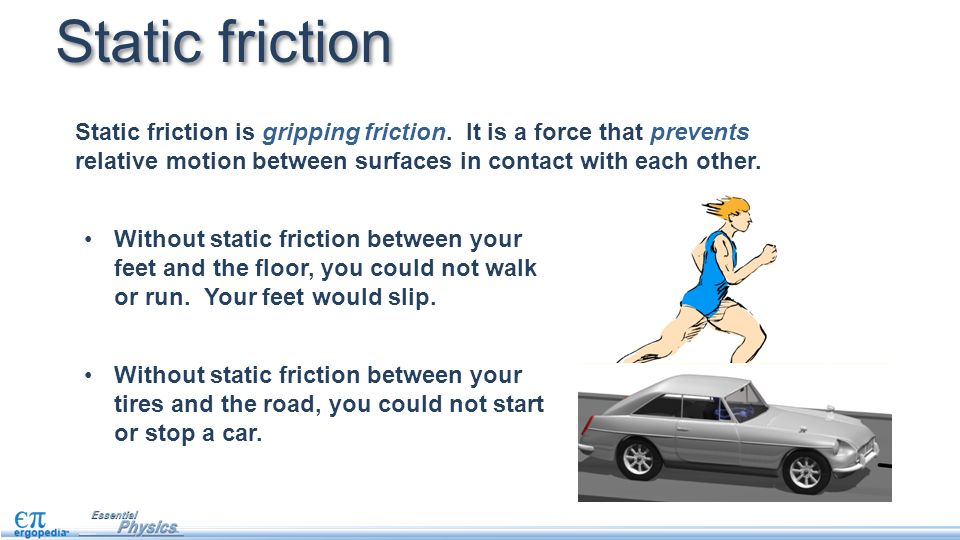 static friction A coefficient of friction the coefficient of static friction is the friction force between two objects when neither of the objects is moving the coefficient of kinetic friction is the force between two objects when one object is moving.