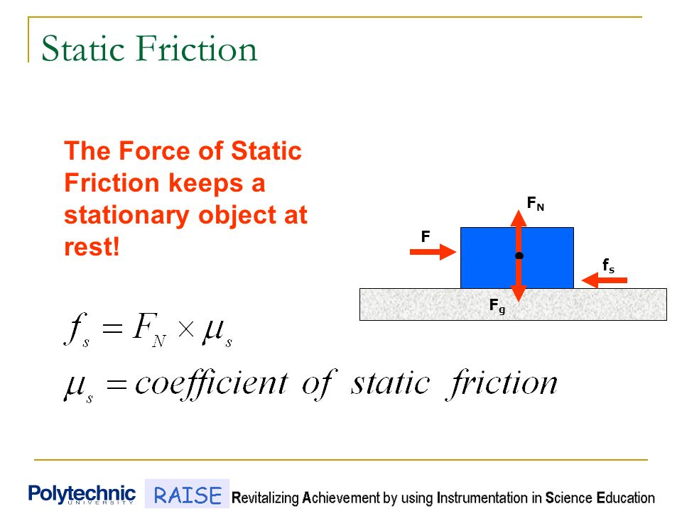 static friction Static friction is the force between two objects that are not moving relative to each other for moving objects, please check kinetic friction calculator.
