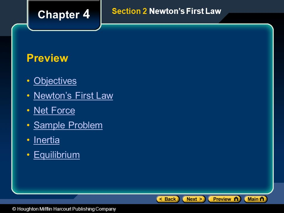 Chapter 4 Preview Objectives Newton's First Law Net Force