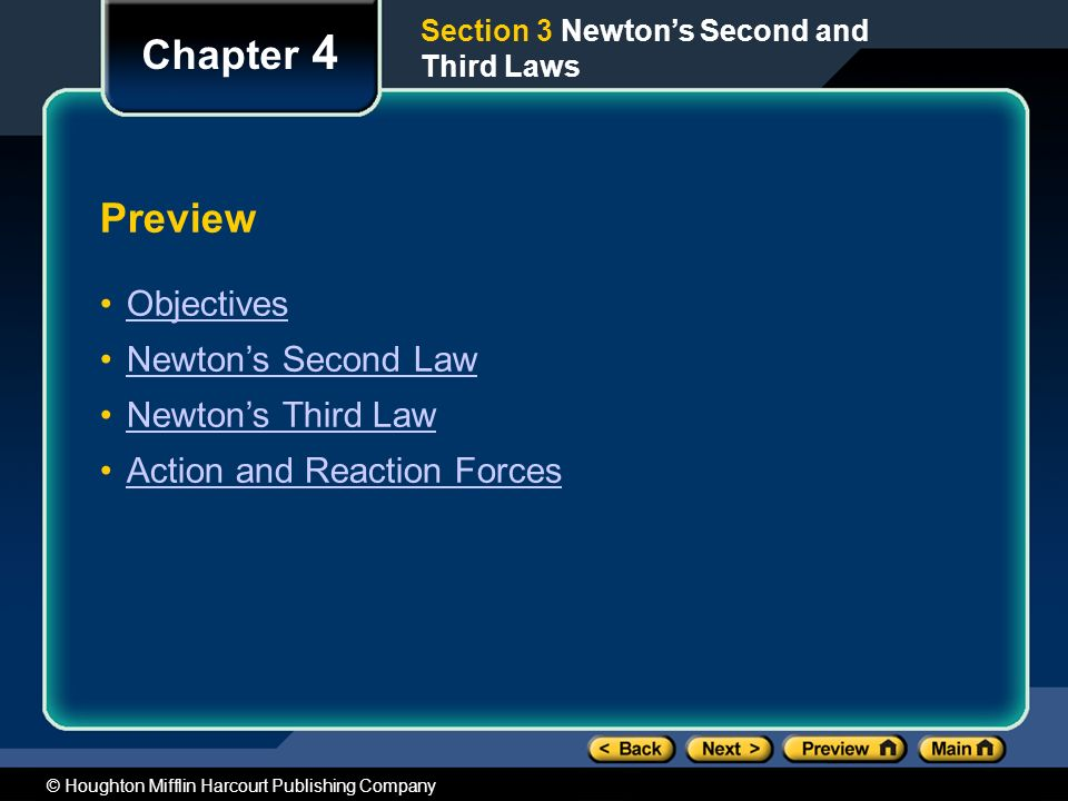 Chapter 4 Preview Objectives Newton's Second Law Newton's Third Law