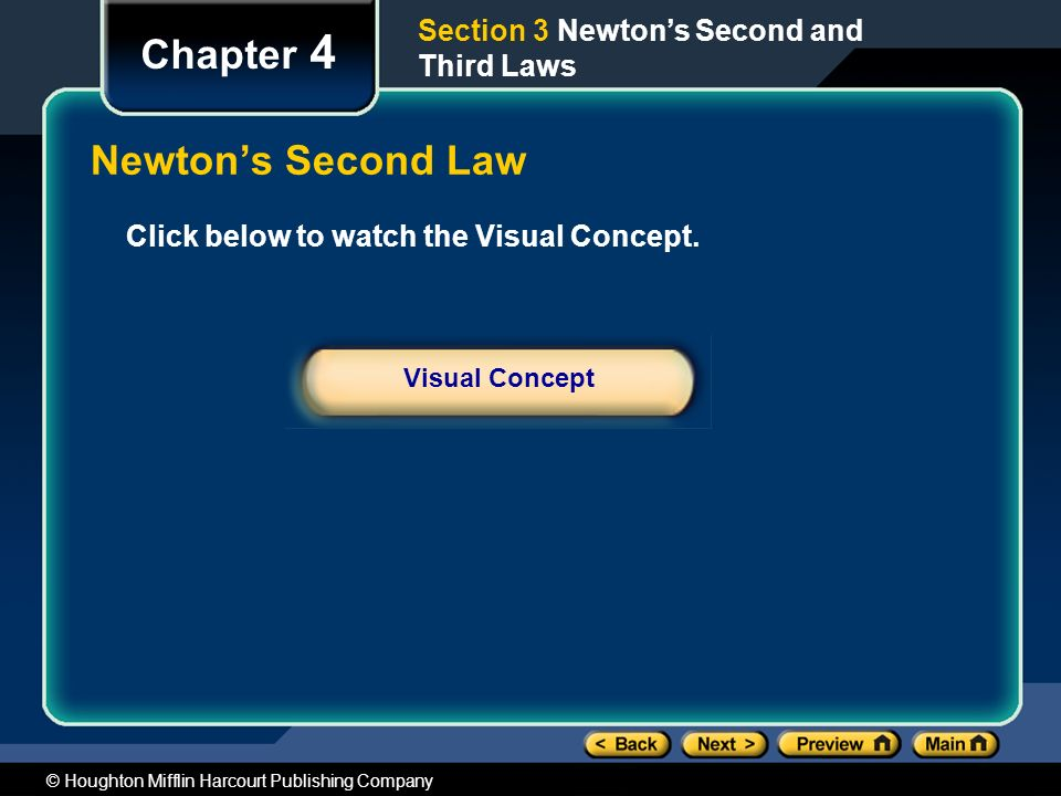 Chapter 4 Newton's Second Law Section 3 Newton's Second and Third Laws