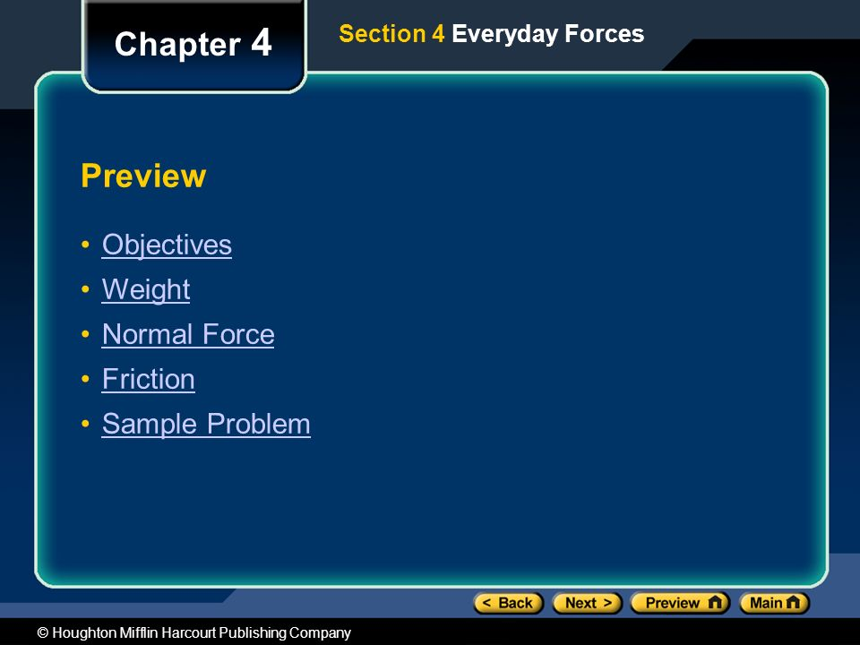 Chapter 4 Preview Objectives Weight Normal Force Friction