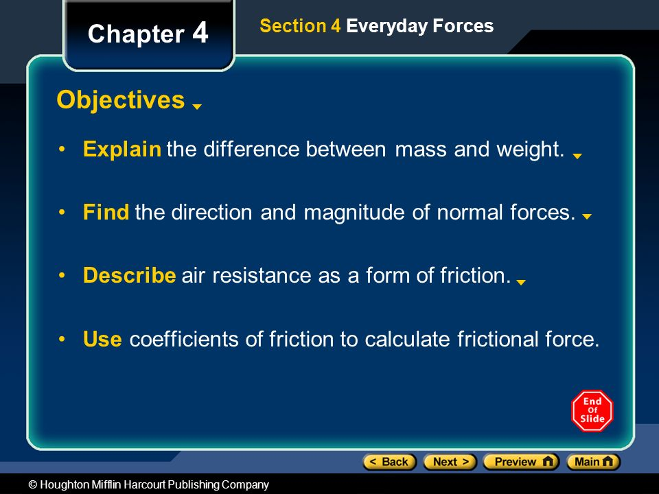 Chapter 4 Objectives Explain the difference between mass and weight.