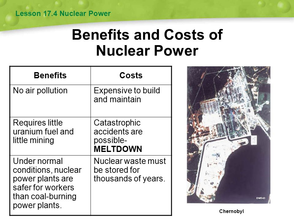 benefits of nuclear power There is more than one benefit to nuclear energy the questions that swirl around nuclear energy are concerned with comparing the benefits to the potential harm the.