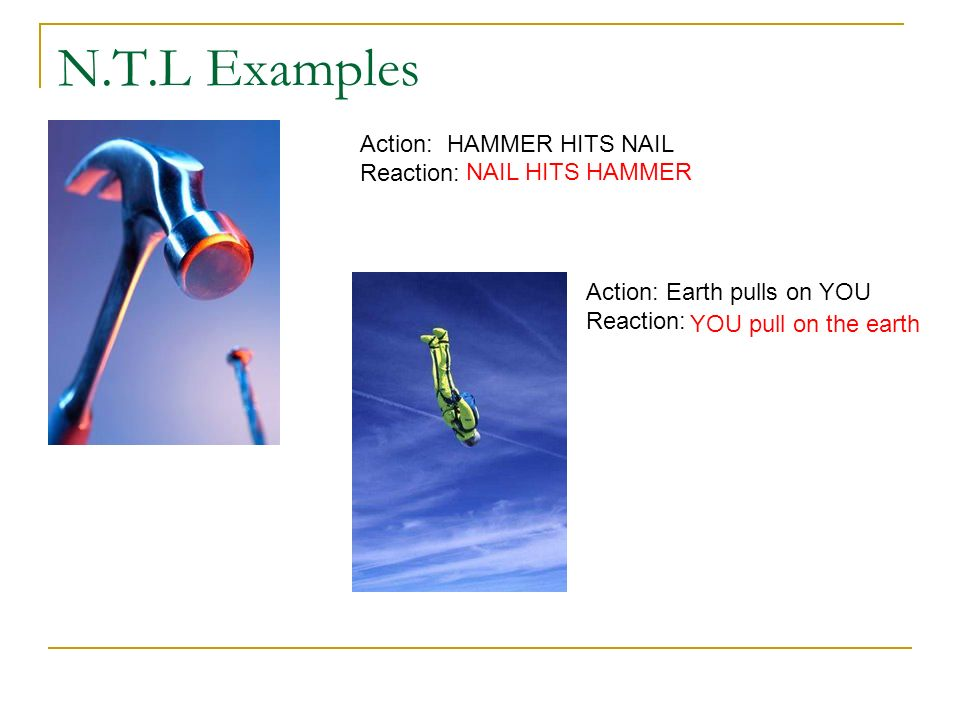 N.T.L Examples Action: HAMMER HITS NAIL Reaction: NAIL HITS HAMMER