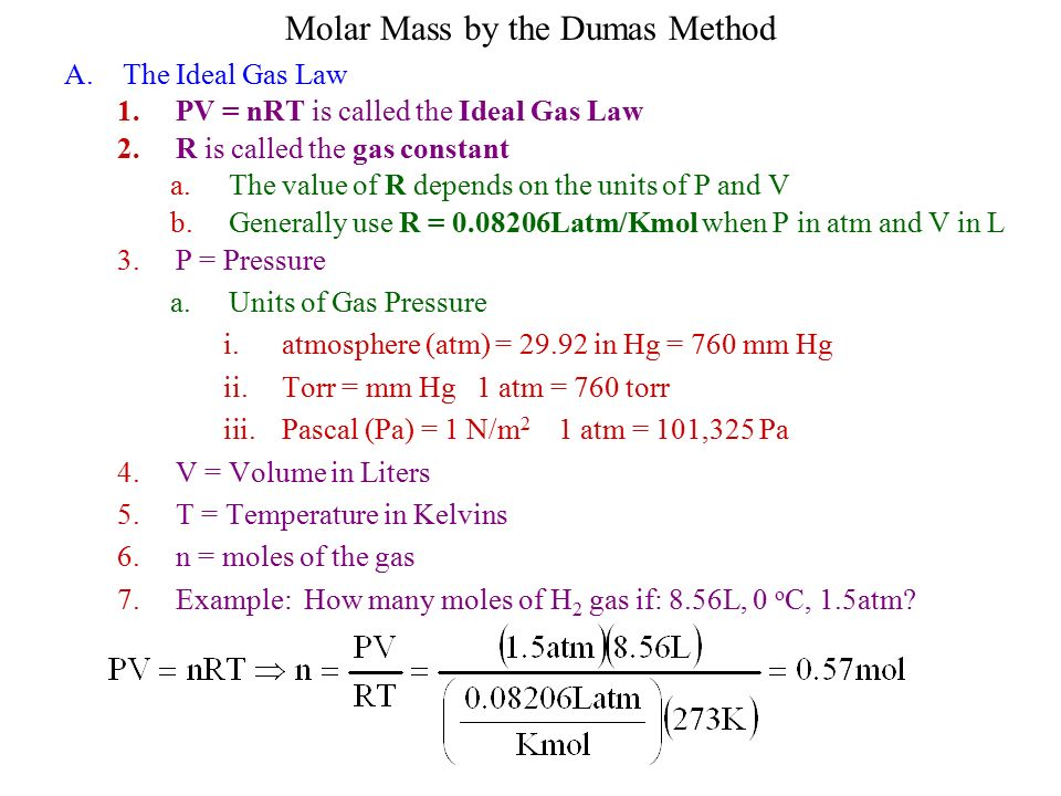 determining molar mass by ideal gas Given the following data for a gas, use the equation for the ideal gas law to calculate the molar mass  finding molar mass of unknown gas  m=molar mass.
