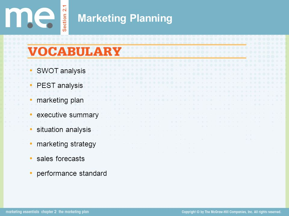 Marketing Planning SWOT analysis PEST analysis marketing plan