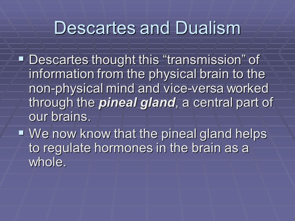 descartes dualism As we have seen from our reading of descartes' meditations, there is at least one powerful argument for dualism but the view also faces some problems.