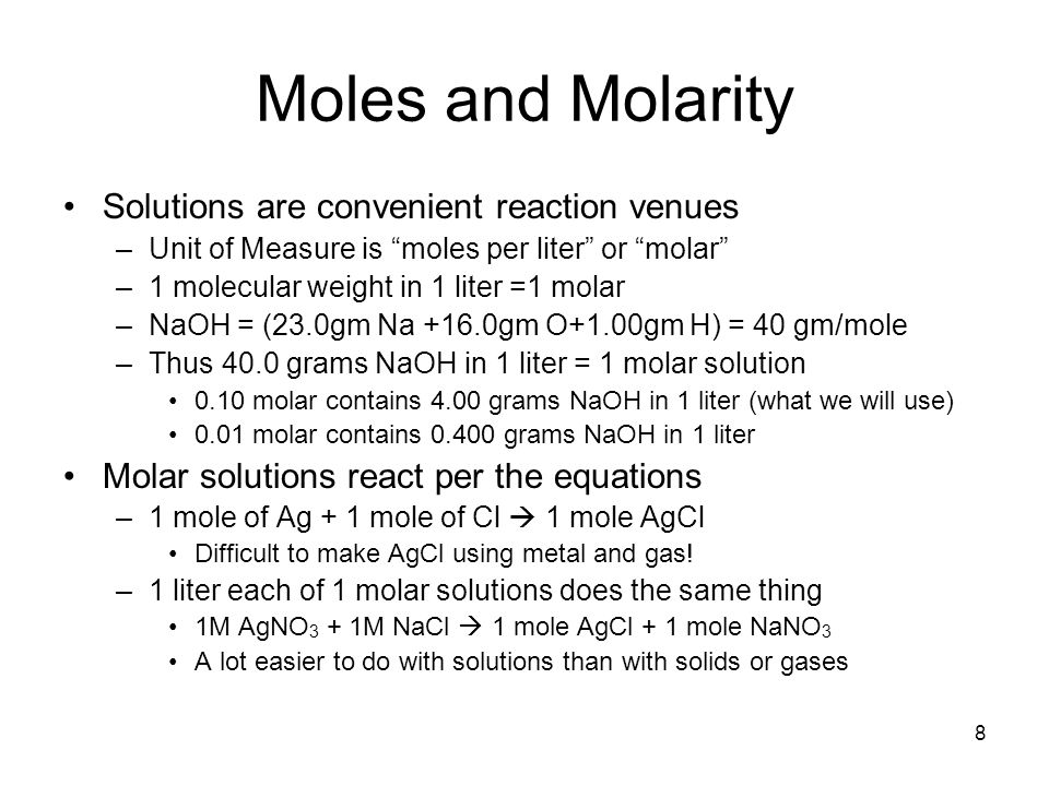mole and molar concentration Determining molar mass we can use a measurement of any one of the following properties to determine the molar mass (molecular weight) of an unknown that is the solute in a solution: omotic pressure determine the moles of unknown (the solute) from the molarity of the solution and the volume (in liters) of the solution.