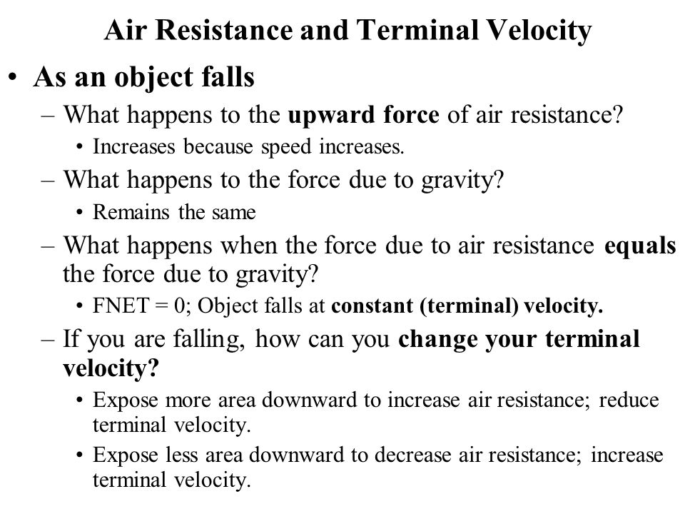 speed and air resistance relationship