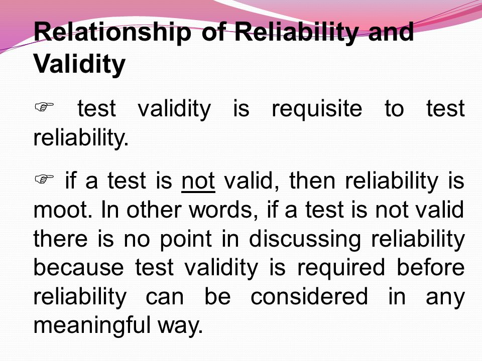 reliability and validity relationship test