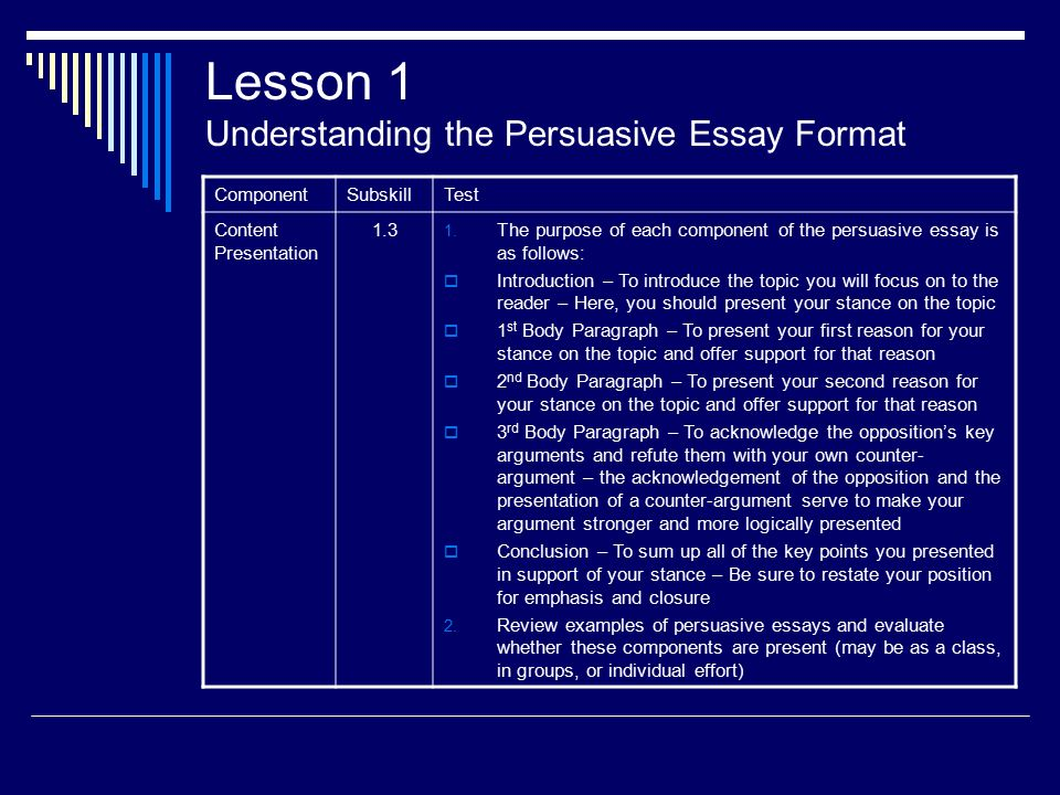 the persuasive essay an instructional design model ppt lesson 1 understanding the persuasive essay format