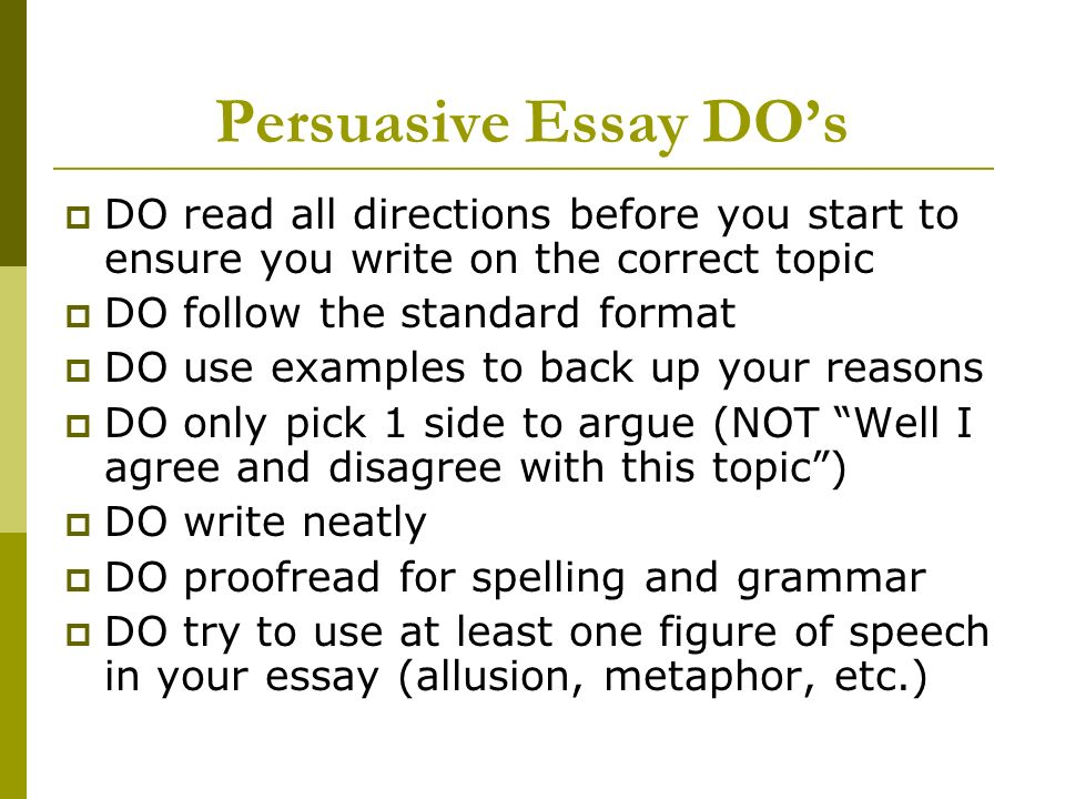 perswasive essays on Essays menu types of essay home guides types of essay persuasive essay how to write a persuasive essay a free guide from essay uk your guide to writing a persuasive essay persuasive essay in persuasive writing, the author is trying to convince the audience to agree with a point of view.