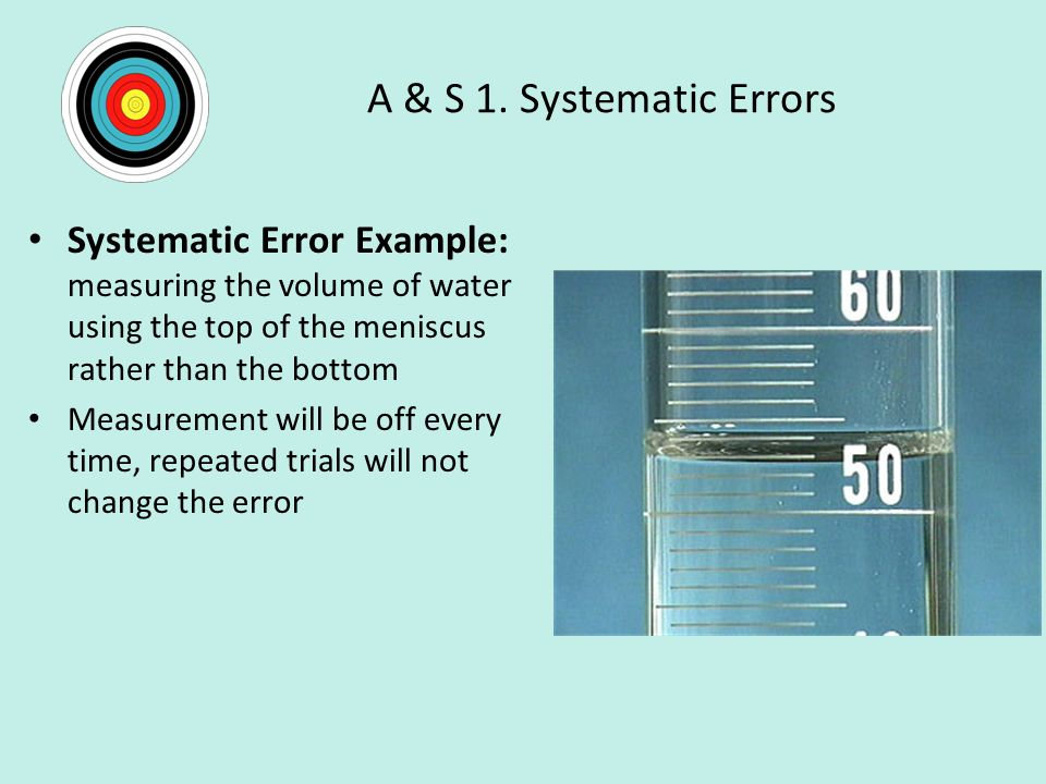 A & S 1. Systematic Errors Systematic Error Example: measuring the volume of water using the top of the meniscus rather than the bottom.