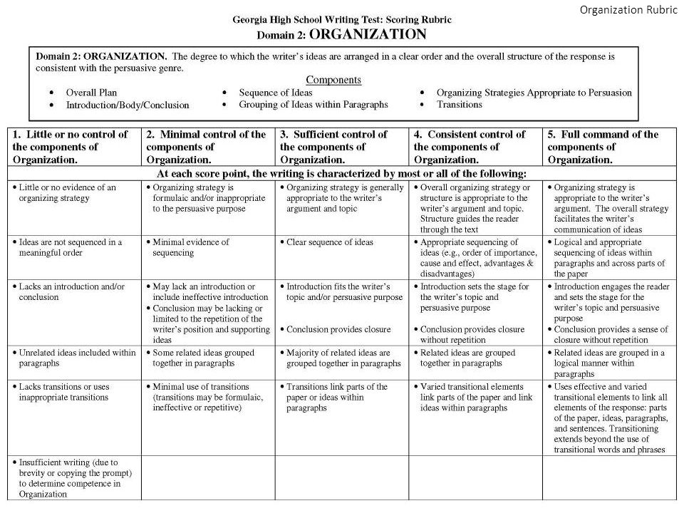 Holistic rubric for essay questions
