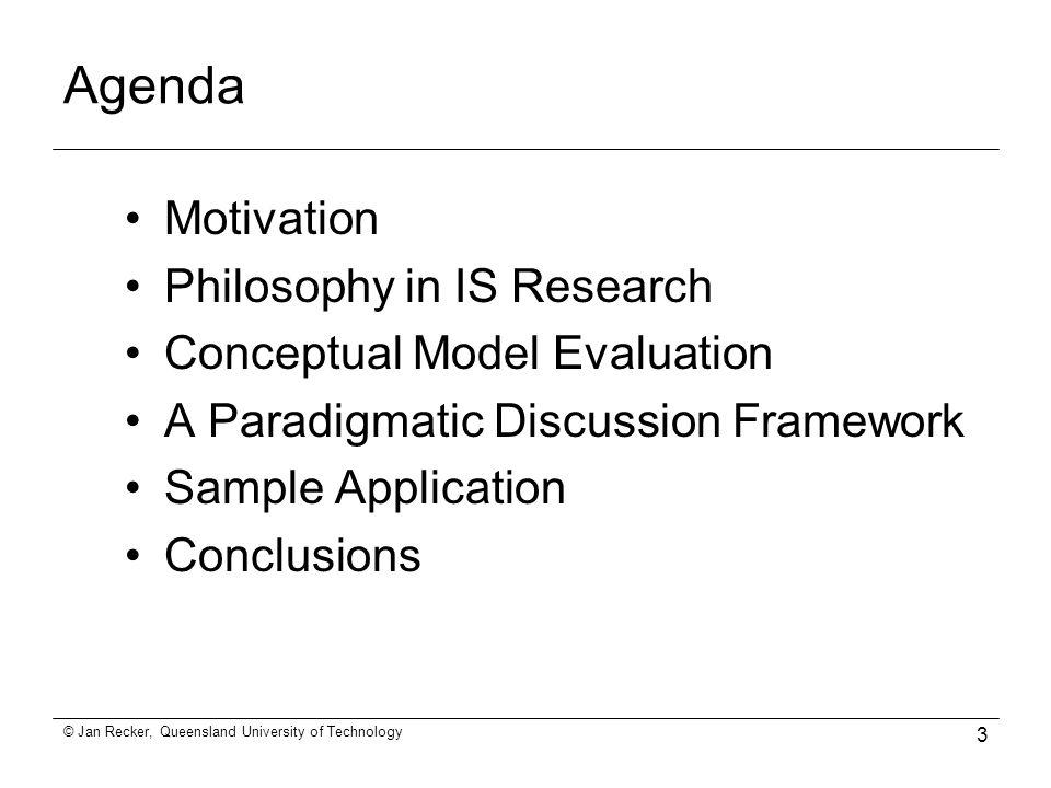 Conceptual Model Evaluation Towards more Epistemological Rigor – Research Agenda Sample