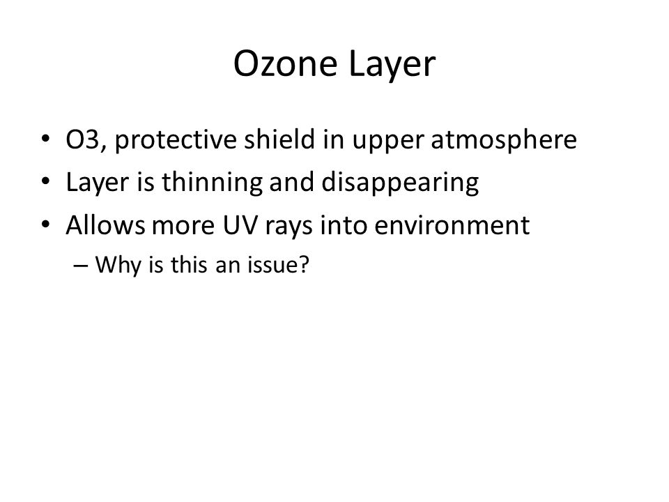 Ozone Layer O3, protective shield in upper atmosphere