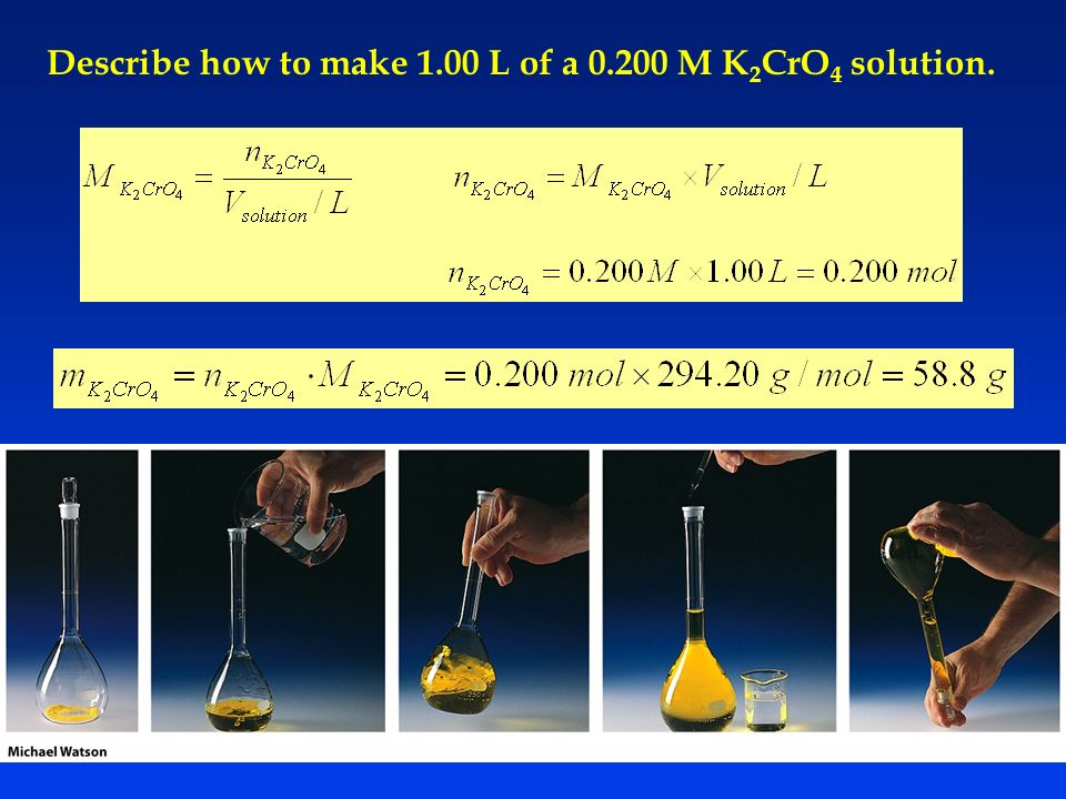 Describe how to make 1.00 L of a M K2CrO4 solution.