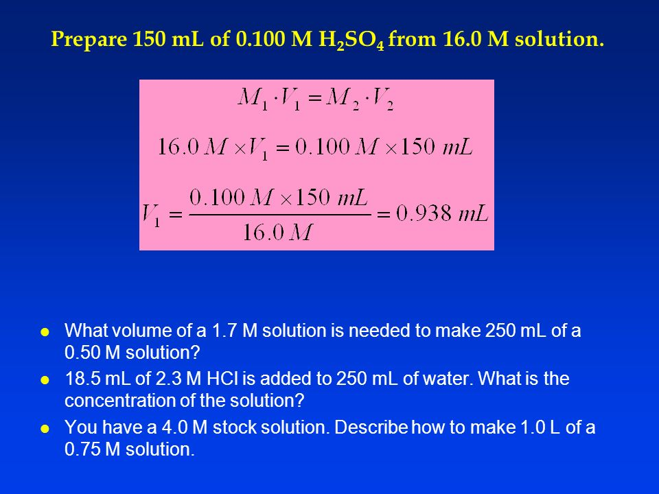 Prepare 150 mL of M H2SO4 from 16.0 M solution.