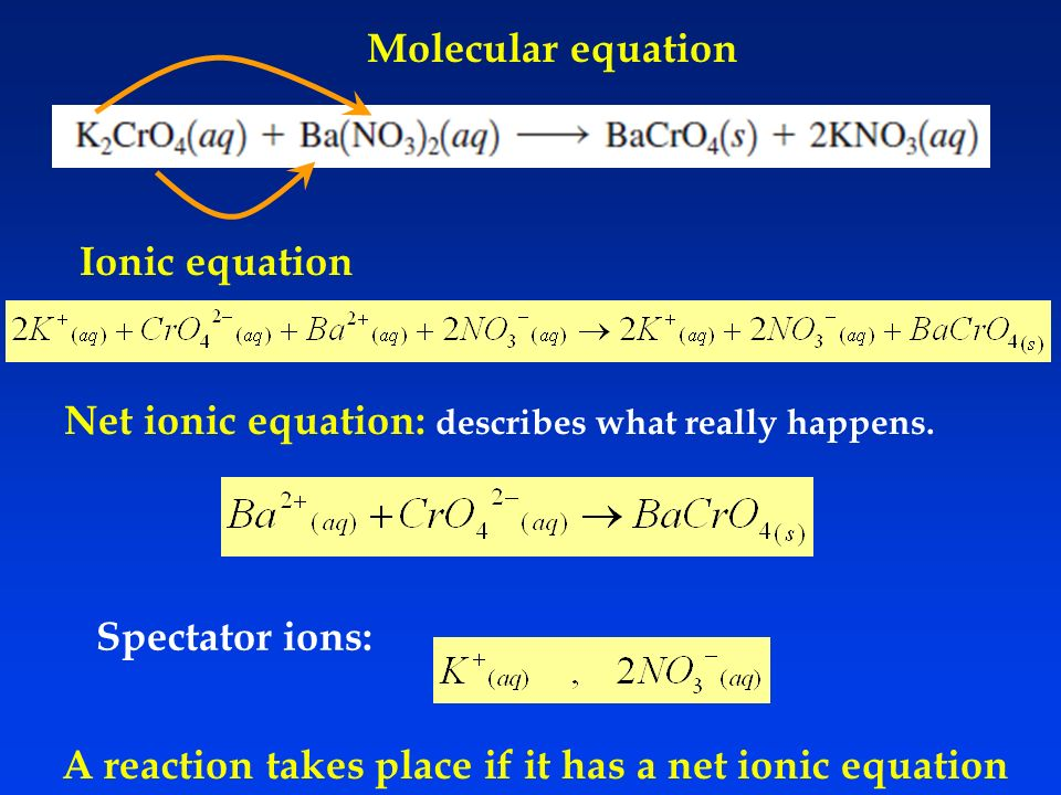 Net ionic equation: describes what really happens.