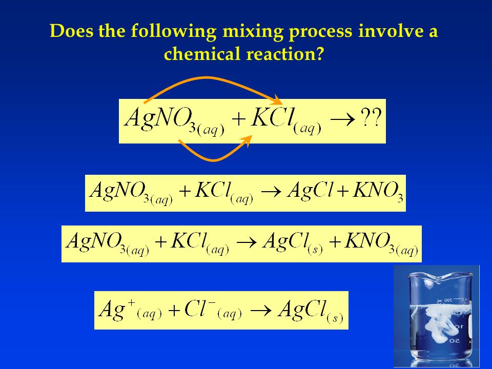 Does the following mixing process involve a chemical reaction