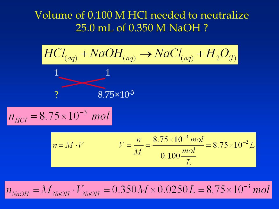 Volume of M HCl needed to neutralize 25.0 mL of M NaOH