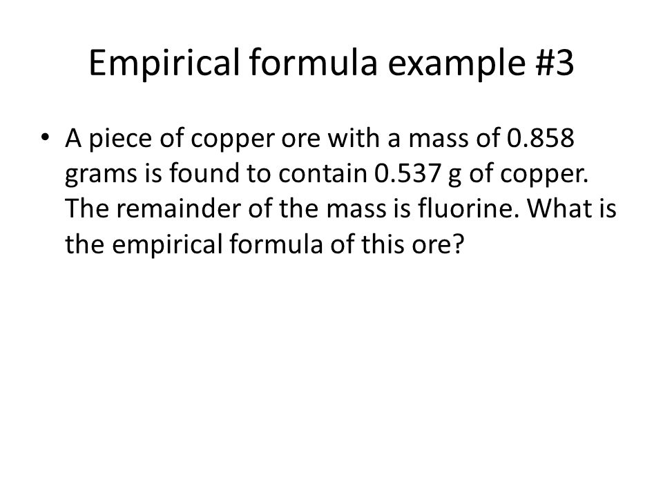 empirical formula of copper