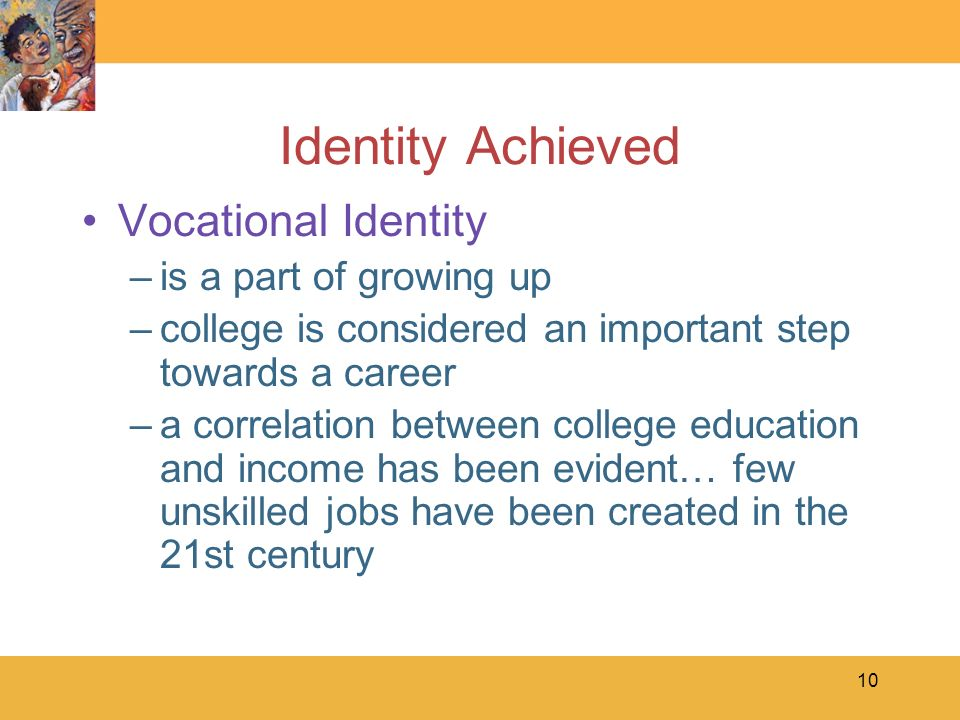 Identity Achieved Vocational Identity is a part of growing up