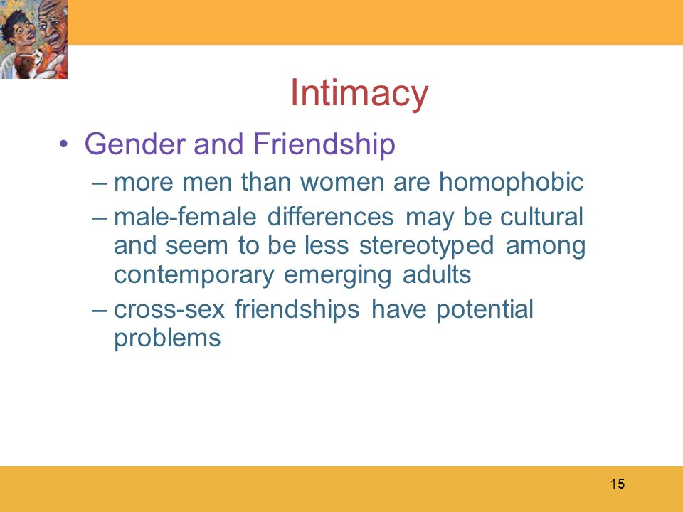Intimacy Gender and Friendship more men than women are homophobic