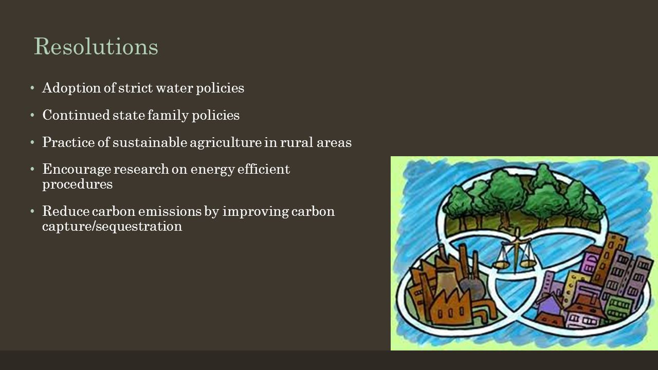 Resolutions Adoption of strict water policies