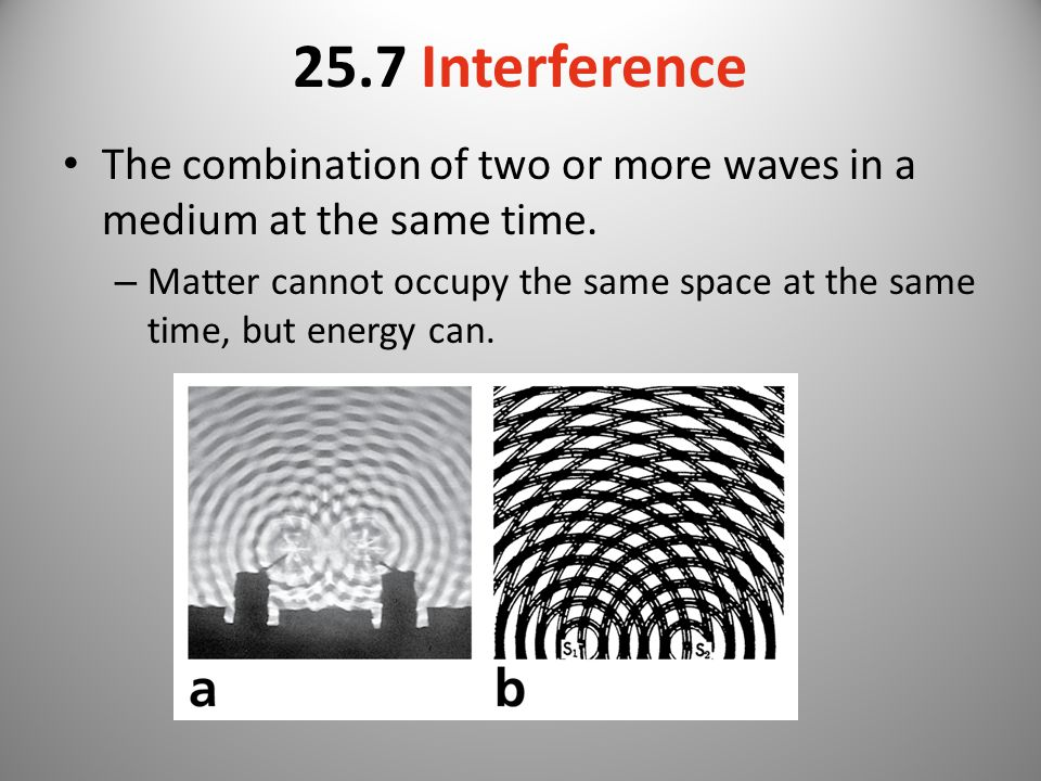 25.7 Interference The combination of two or more waves in a medium at the same time.