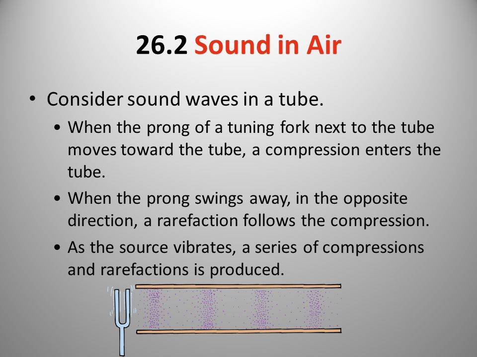 26.2 Sound in Air Consider sound waves in a tube.