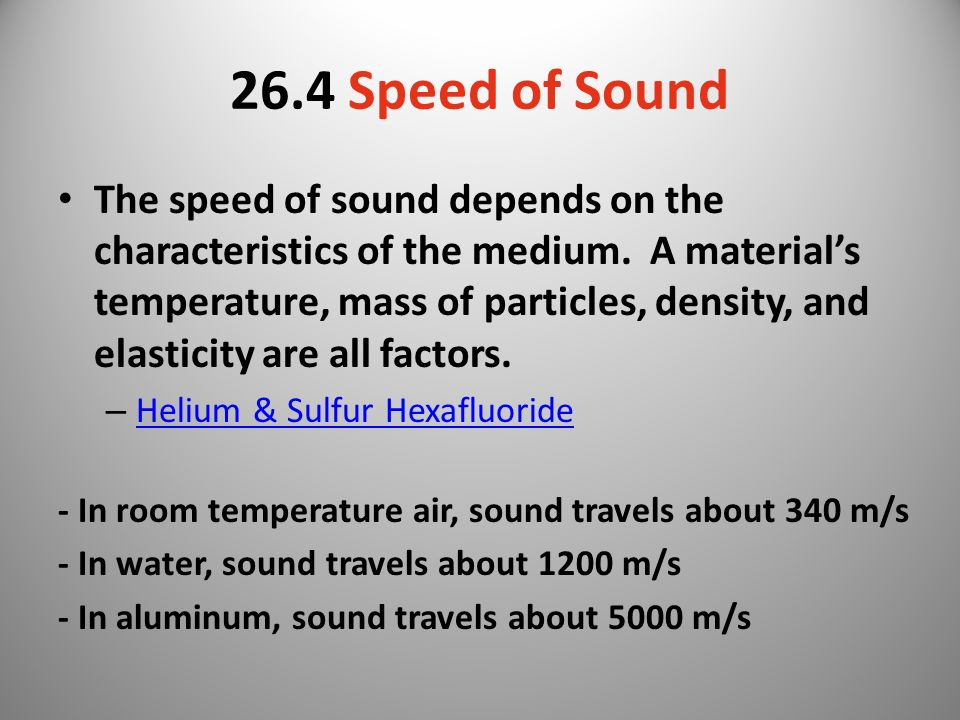 26.4 Speed of Sound