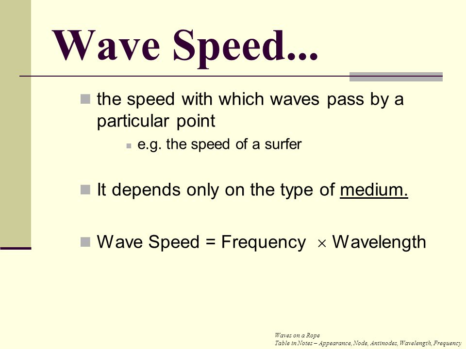 Wave Speed... the speed with which waves pass by a particular point