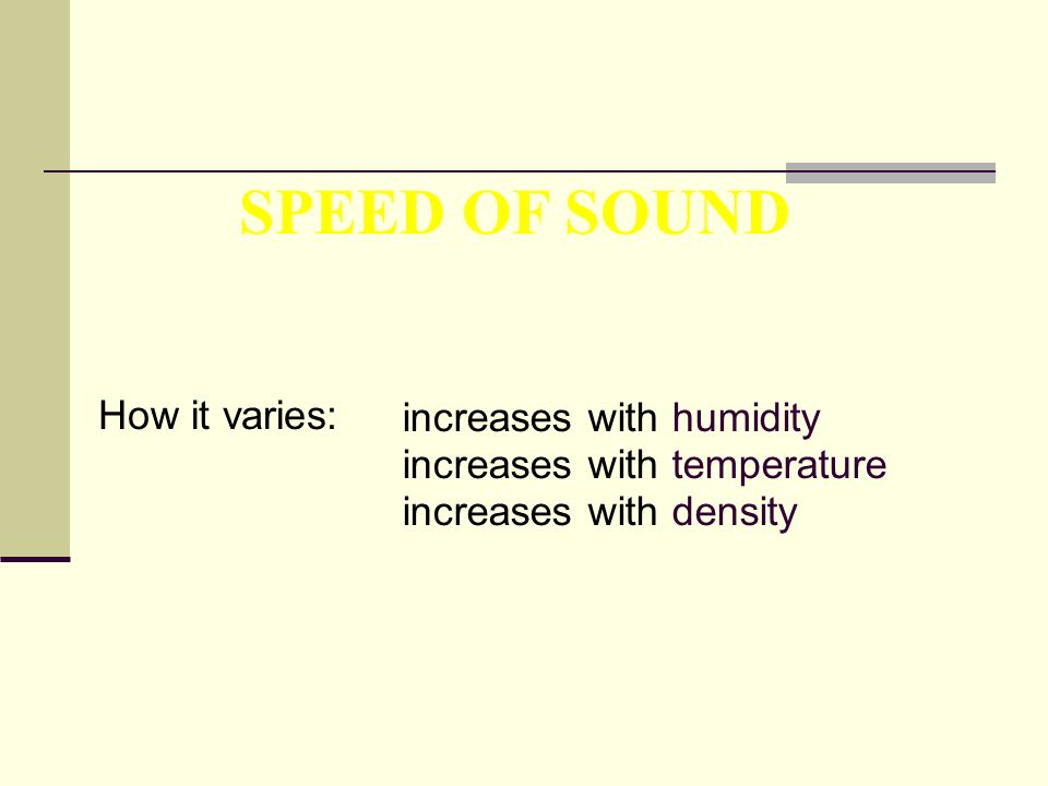 SPEED OF SOUND How it varies: increases with humidity