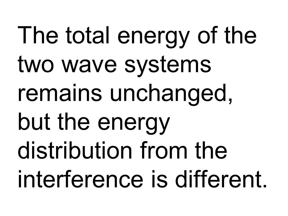 The total energy of the two wave systems remains unchanged, but the energy distribution from the interference is different.