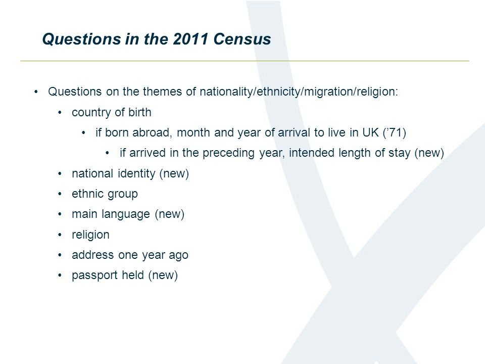 Questions in the 2011 Census