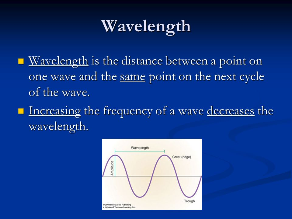 Wavelength Wavelength is the distance between a point on one wave and the same point on the next cycle of the wave.