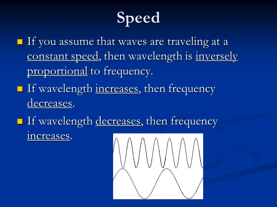 Speed If you assume that waves are traveling at a constant speed, then wavelength is inversely proportional to frequency.