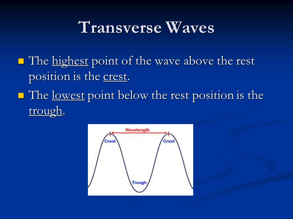 Transverse Waves The highest point of the wave above the rest position is the crest.